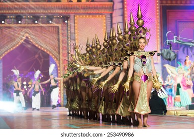 CANARY ISLAND, SPAIN - FEBRUARY 13, 2015: Unidentified girls performing onstage during city of Las Palmas carnival One Thousand and One Nights opening show of Queens Gala.
