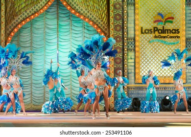 CANARY ISLAND, SPAIN - FEBRUARY 13, 2015: Baracoa who got 2nd premie during this year carnival performing onstage during city of Las Palmas carnival One Thousand and One Nights Queens Gala show.