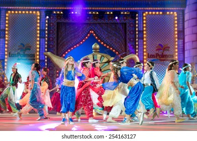 CANARY ISLAND, SPAIN - FEBRUARY 15, 2015: Unidentified children dancing and singing onstage during city of Las Palmas carnival One Thousand and One Nights Junior Queen Gala opening show.