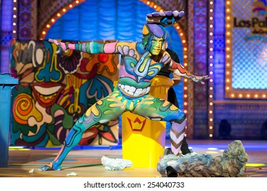 CANARY ISLAND, SPAIN - FEBRUARY 17, 2015: Anyelo Perez onstage during city of Las Palmas carnival One Thousand and One Nights Body Painting Contest.