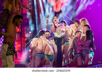 CANARY ISLAND, SPAIN - FEBRUARY 20, 2015: Unidentified artists performing onstage during city of Las Palmas carnival One Thousand and One Nights opening show of Drag Queen Gala.