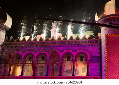 CANARY ISLAND, SPAIN - FEBRUARY 20, 2015: Detail from the Carnival stage design with fireworks during city of Las Palmas carnival One Thousand and One Nights Drag Queen Gala