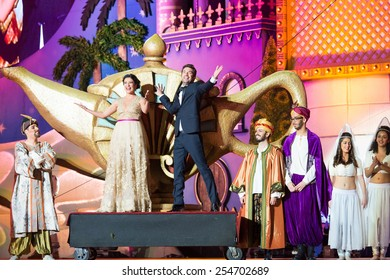 CANARY ISLAND, SPAIN - FEBRUARY 20, 2015: Actors Yanely Hernandez (l) and Arturo Valls (r) tv hosts during city of Las Palmas carnival One Thousand and One Nights opening show of Drag Queen Gala.