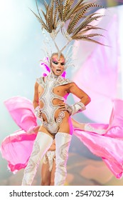 CANARY ISLAND, SPAIN - FEBRUARY 20, 2015: Drag Acrux with costume from designer Nauzet Afonso and Sebastian Betancor performing onstage during city of Las Palmas carnival Drag Queen Gala.