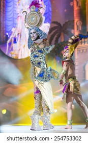 CANARY ISLAND, SPAIN - FEBRUARY 20, 2015: Drag Sethlas with Cleopatra costume from designer Willie Diaz performing onstage during city of Las Palmas carnival Drag Queen Gala.