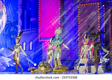 CANARY ISLAND, SPAIN - FEBRUARY 20, 2015: Drag Sethlas (m) as Cleopatra and unidentified assistants with Egyptian costumes performing onstage during city of Las Palmas carnival Drag Queen Gala.