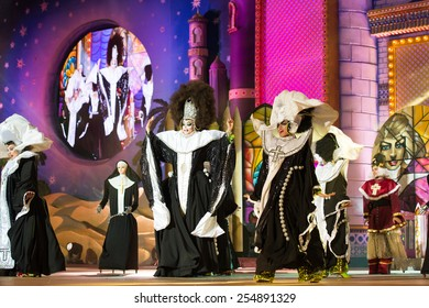 CANARY ISLAND, SPAIN - FEBRUARY 20, 2015: Drag La Tullida (m) and unidentified female assistants dressed as nuns performing onstage during city of Las Palmas carnival Drag Queen Gala.