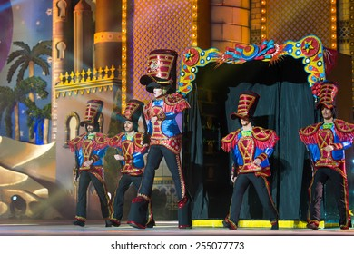 CANARY ISLAND, SPAIN - FEBRUARY 20, 2015: Drag Foguen as Tin soldier costume from designer Blas Francisco Castellano and unidentified assistants onstage during Las Palmas carnival Drag Queen Gala.