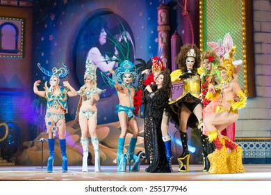 CANARY ISLAND, SPAIN - FEBRUARY 20, 2015: Pepa Charro from Madrid know as The Earthquake of Alcorcon (m) onstage with those drags who didn't got to final during city of Las Palmas Drag Queen Gala.