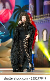 CANARY ISLAND, SPAIN - FEBRUARY 20, 2015: Pepa Charro from Madrid know as The Earthquake of Alcorcon onstage during city of Las Palmas carnival One Thousand and One Nights Drag Queen Gala.