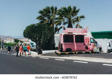 Canary Island, Spain -  June 29, 2014: Tourists enjoying their vacation in Lanzarote, Spain