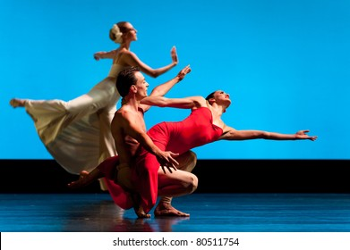 CANARY ISLANDS - 5 JULY: Maurizio Nardi, Jacqueline Bulnes and Katherine Crockett from Martha Graham Dance Company, performing onstage during Festival of Dance July 5, 2011 in Canary Islands, Spain