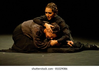 CANARY ISLANDS - JULY 14: Actors from Tribuene Teatro in Madrid, playing La Casa de Bernarda Alba, written by Federico Garcia Lorca, during Festival of Theatre July 14, 2011 in Canary Islands, Spain