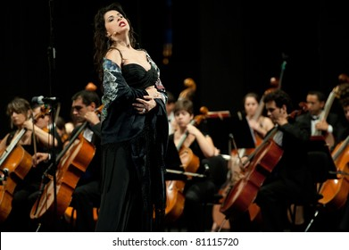 CANARY ISLANDS - JULY 16: Mezzo-soprano Alessandra Volpe from Italy, singing Habanera (Carmen) from Bizet, onstage during Festival of Music July 16, 2011 in Las Palmas, Canary Islands, Spain