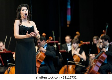 CANARY ISLANDS - JULY 16: Mezzo-soprano Alessandra Volpe from Italy, singing II Barbiere di Siviglia from Rossini, onstage during Festival of Music July 16, 2011 in Las Palmas, Canary Islands, Spain