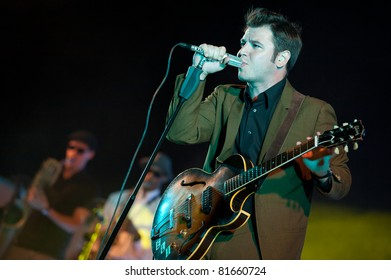 "CANARY ISLANDS - JULY 22: Soul singer and guitarist Eli ""Paperboy"" Reed from All-stone, Massachusetts US, performs onstage during a music festival on July 22, 2011 in Las Palmas, Canary Islands, Spain"