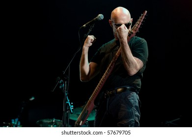CANARY ISLANDS - JULY 22: Tony Levin from Boston with his Chapman Stick performing onstage at theater CICCA during Stick Mens touring in Europe July 22, 2010 in Canary Islands