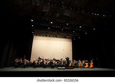 CANARY ISLANDS - JULY 23: Bratislava Symphony Orchestra from Slovakia, performing onstage during Festival of Music July 23, 2011 in Las Palmas, Canary Islands, Spain