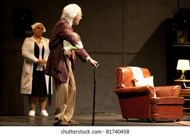 CANARY ISLANDS - JULY 26: Armando Pita and Edith Salazar, from Spain, acting in Forever Young, onstage during Festival of Theater July 26, 2011 in Las Palmas, Canary Islands, Spain