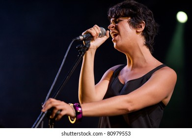CANARY ISLANDS - JUNE 24: Beatriz Diaz Diaz  from Junkie Monks from Gran Canaria performing onstage during 4th playa viva Blues Festival June 24, 2011 in Las Palmas, Canary Islands, Spain
