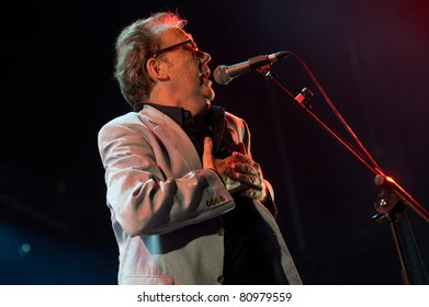 CANARY ISLANDS - JUNE 24: Lead vocalist Mike Thomas, from The Cadillac Kings, from UK, performing onstage during 4th playa viva Blues Festival June 24, 2011 in Las Palmas, Canary Islands, Spain
