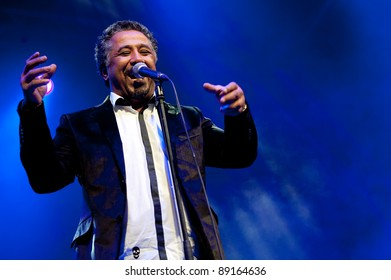 CANARY ISLANDS - NOVEMBER 12: Singer Khaled Hadj Ibrahim (Khaled) from Algeria performs onstage during Womad 2011 November 12, 2011 in Las Palmas, Canary islands, Spain