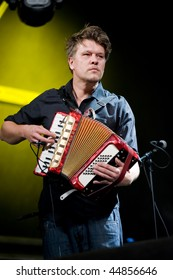 CANARY ISLANDS – NOVEMBER 13: Accordionist in Depedro from Madrid,Spain performing onstage during the festival Womad November 13, 2009 in Canary Islands, Spain