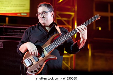 CANARY ISLANDS - OCTOBER 30: Bass player Jose Gonzalez from US performing onstage during 3rd playa viva Blues Festival October 30, 2010 in Canary Islands, Spain