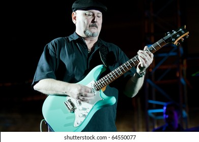 CANARY ISLANDS - OCTOBER 30: Blues, Rock Guitarist Bill Lyerly from US performing onstage during 3rd playa viva Blues Festival October 30, 2010 in Canary Islands, Spain