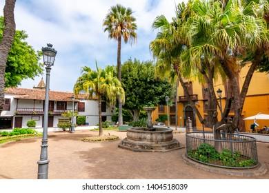 Canary islands, Spain - April 2018: Icod de los Vinos central square, Tenerife