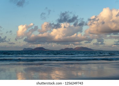 Canary Islands, Spain, Graciosa island view from Famara Beach