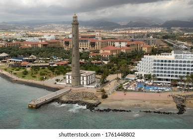 Canary islands, Spain - July 05, 2016: Aerial photograph of the Maspalomas lighthouse and tourist buildings facing the beach on the south coast of Gran Canaria