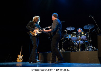 CANARY ISLANDS - SPAIN MAY 31: Marcel Scherpenzeel (l), Ted McKenna (m) and Gerry McAvoy (r), from Ireland, onstage during tribute to Rory Gallagher May 31, 2012 in Canary Islands, Spain