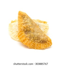 Canary islands sweets - truchas de fruta. Trucha is literally a trout, which refers to fish-like shape of the pastry, traditionally filled with sweet potato, here filled with summer fruit