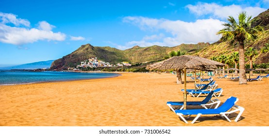 Canary Islands, Tenerife. Beach las Teresitas with yellow sand. Canary Islands
