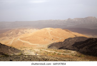 Canary Islands, Tenerife, a group of walkers ascending Teide, the tallest mountain of Canary Islands and Spain, from the east slopes