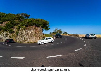 CANARY ISLANDS, TENERIFE, SPAIN - JULY 22, 2018: Road (Hairpin turn) of the mountains of the northern part of Tenerife.