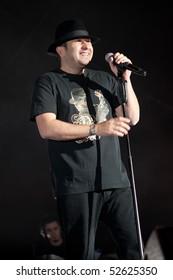 CANARY ISLANDS-MAY 7: Jose Luis Figuereo Franco, El Barrio, performing onstage during Dorada en Vivo May 07, 2010 in Canary Islands, Spain