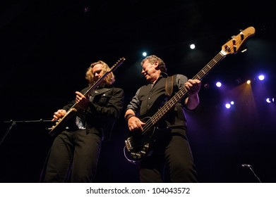 CANARY ISLANDS-SPAIN MAY 31: Gerry McAvoy's Band Of Friends, from Ireland, Marcel Scherpenzeel (l) and Gerry McAvoy (r) onstage during tribute to Rory Gallagher May 31, 2012 in Canary Islands, Spain