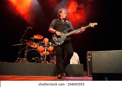 CANARY ISLANDS-SPAIN MAY 31: Gerry McAvoy's Band Of Friends, from Ireland, Ted McKenna (l) and Gerry McAvoy (r) onstage during tribute to Rory Gallagher May 31, 2012 in Canary Islands, Spain