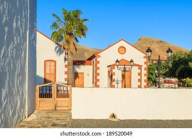 Canary style buildings near church in La Ampuyenta village, Fuerteventura, Spain