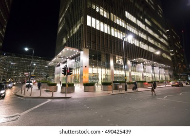 Canary Wharf district in London by night - amazing buildings - LONDON / ENGLAND - SEPTEMBER 14, 2016