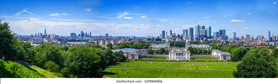 Canary Wharf large panoramic view from Greenwich Park, London, United Kingdom
