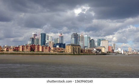 Canary Wharf, London / United Kingdom - March 20 2019: Photo of iconic Skyline in Canary Wharf business area