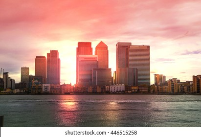 Canary Wharf Office and Banking aria view at sunset, London
