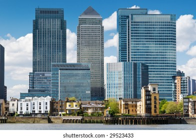 Canary Wharf Skyline.financial district, bank buildings at London, Dockland.