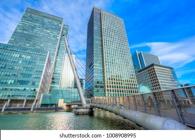 Canary Wharf skyscrapers and Thames river, London, UK