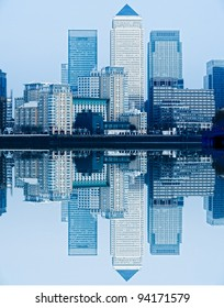 Canary Wharf, with waves reflection, London, UK