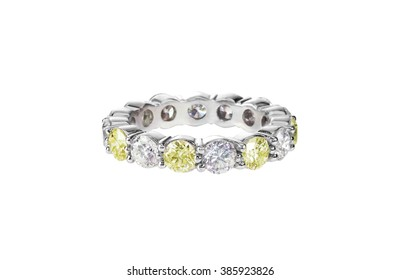 canary yellow diamond wedding band citrine ring isolated on white