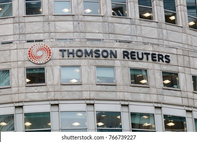 CanaryWharf, London, UK - 15th November 2017:The Thomson Reuters headquarters building in Canary Wharf, London.  Includes the Thomson Reuters sign on the building.
